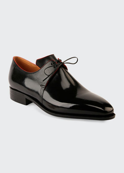 Arca Calf Leather Derby Shoe with Red Piping  Black