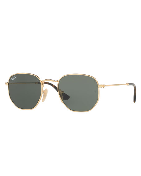 Men's Hexagonal Metal Sunglasses, Green/Gold