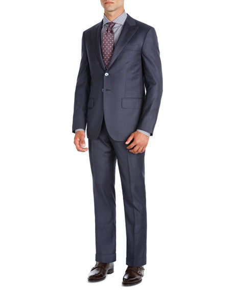 Image 1 of 1: Striped Super 140s Wool Two-Piece Suit