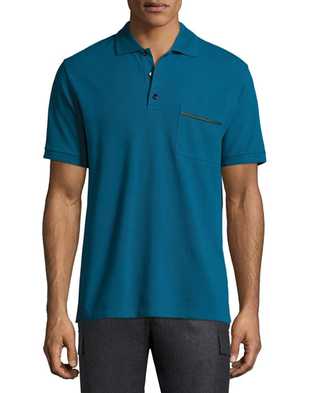 Leather-Trim Polo Shirt, Gasoline
