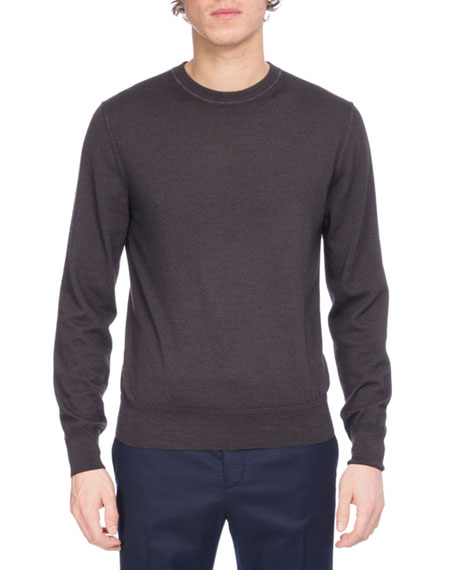 Garment-Dyed Wool Crewneck Sweater, Black