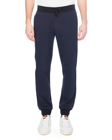 Leather-Trim Jogger Sweatpants, Dark Blue