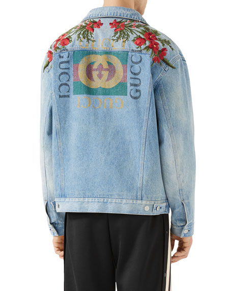 b6c1dc25cef9e Gucci Floral-Embroidered Jean Jacket