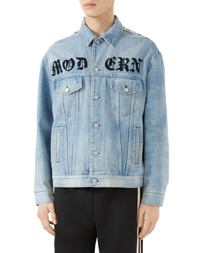 Floral-Embroidered Jean Jacket, Blue