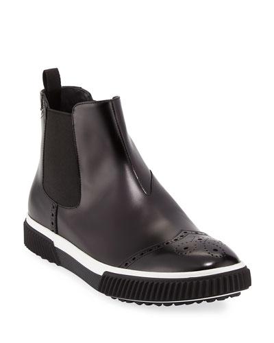 Slip-On Leather Brogue Chelsea Boot  Black