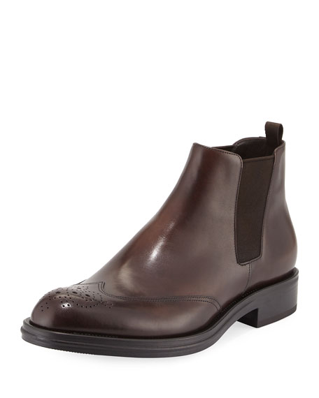 Burnished Leather Brogue Chelsea Boot, Brown