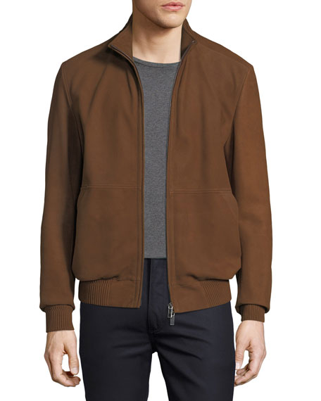 Ermenegildo Zegna Leather Bomber Jacket with Hood