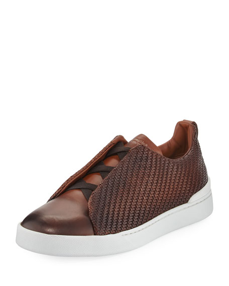 Couture Triple-Stitch Pelle Tessuta Leather Low-Top Sneaker, Light Brown