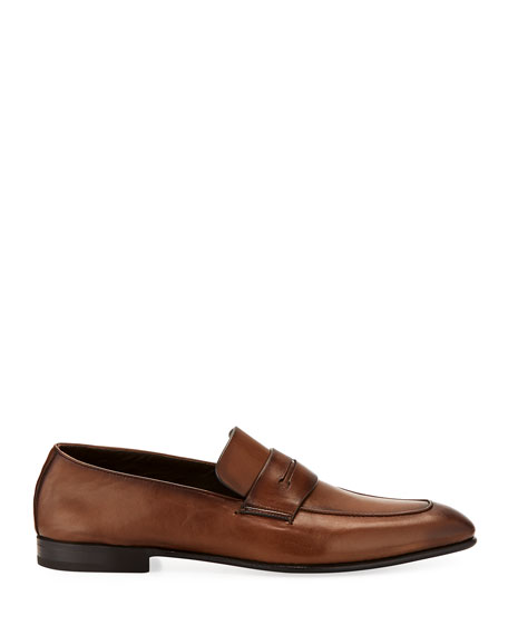 Asola Napa Leather Penny Loafer, Light Brown