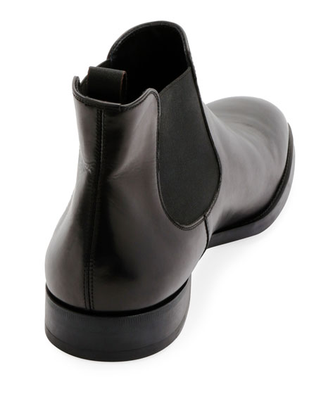 Gored Leather Chelsea Boot w/ Rubber Sole