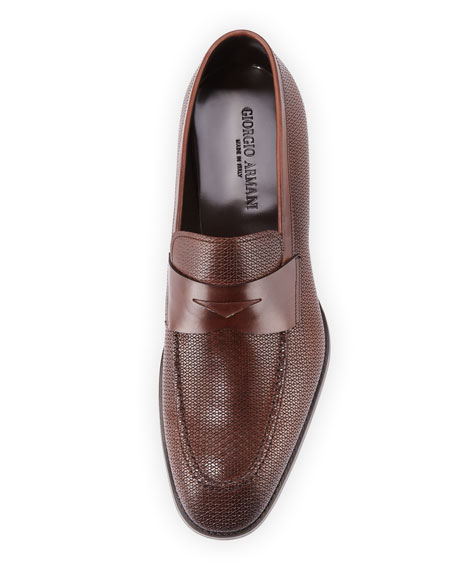 Textured Leather Penny Loafer