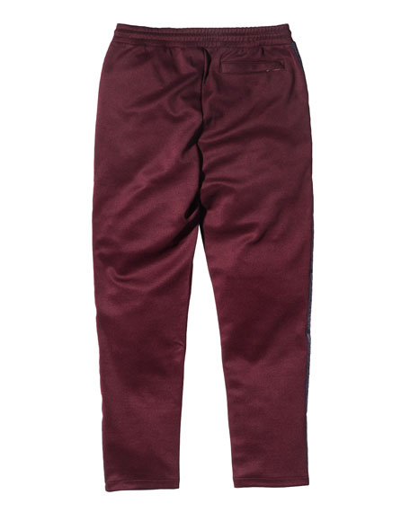 Embroidered Track Pants, Burgundy