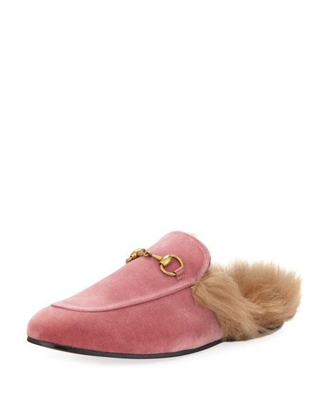 Gucci Princetown Velvet Fur-Lined Slipper, Pink