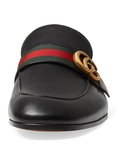 Princetown Leather Slipper with Double G, Black