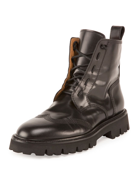 Maison Margiela Wing-Tip Leather Combat Boot, Nero (Black)