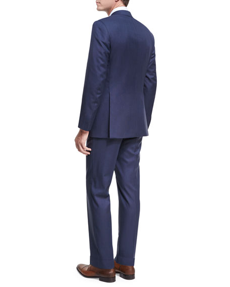 Textured Solid Wool Two-Piece Suit