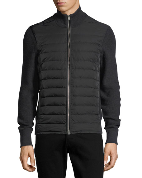 Quilted Zip-Front Cardigan