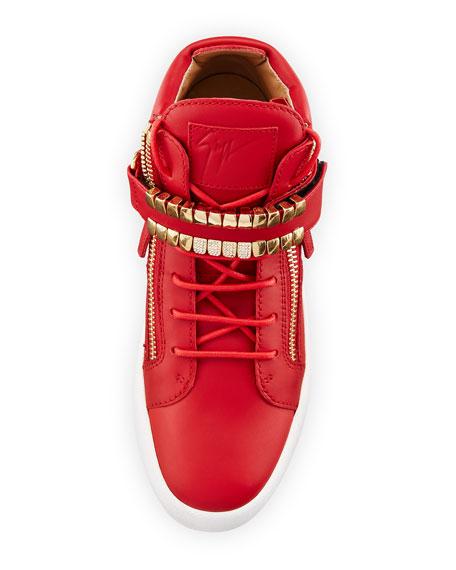Men's Double-Grid Leather Mid-Top Sneaker