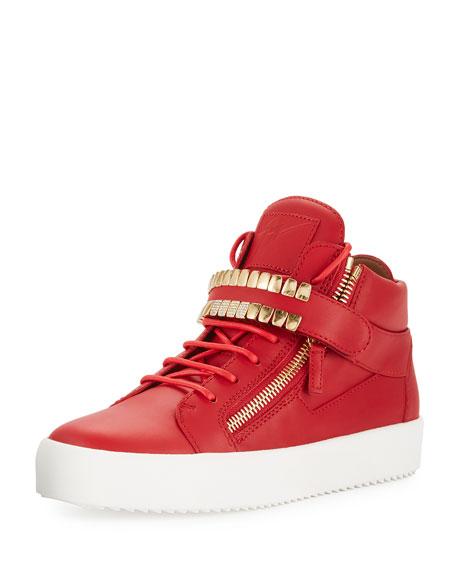 Giuseppe Zanotti Men's Double-Grid Leather Mid-Top Sneaker