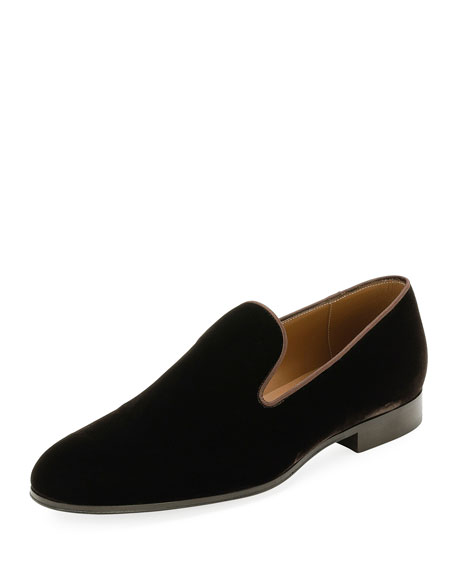 Image 1 of 1: Jean Velvet Round-Toe Slipper