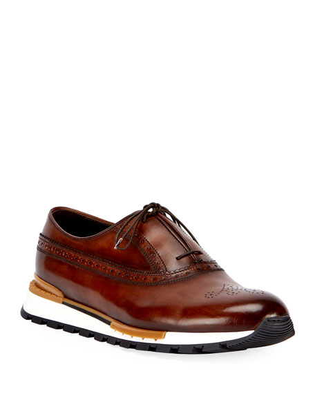 Berluti Men's Fast Track Leather Brogue Sneakers, Brown/Yellow