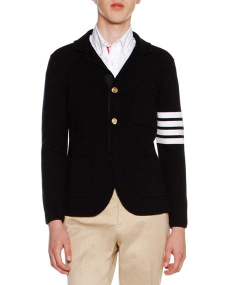 4-Bar Striped Knit Sport Coat, Navy