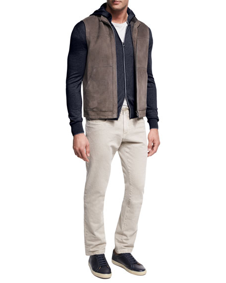 Lightweight Suede & Shearling Fur Vest, Brown