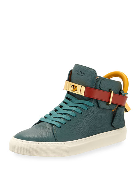 100mm Tricolor Leather Mid-Top Sneaker