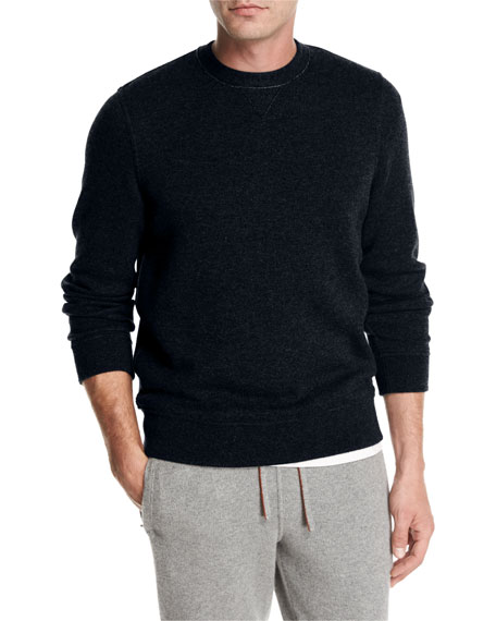 Cashmere-Nylon Jersey Crewneck Sweater