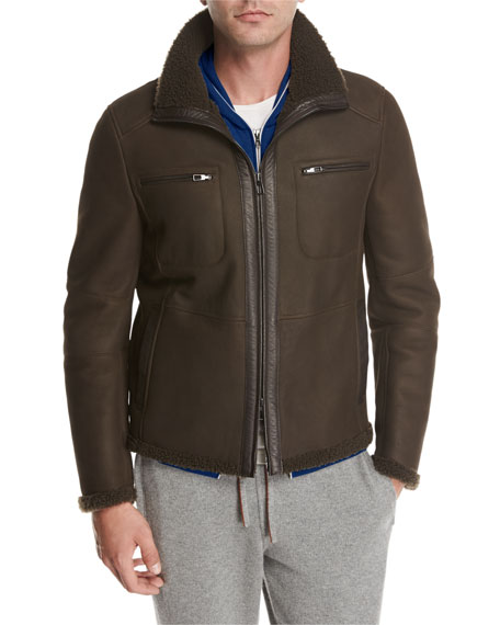 Shearling Moto Jacket, Brown