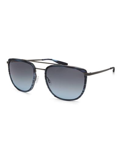 Lafayette Metal & Acetate Navigator Sunglasses, Matte Midnight/Pewter/Steel Blue
