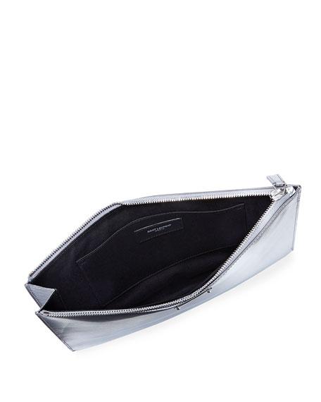 Textured Metallic Leather Zip-Top Pouch