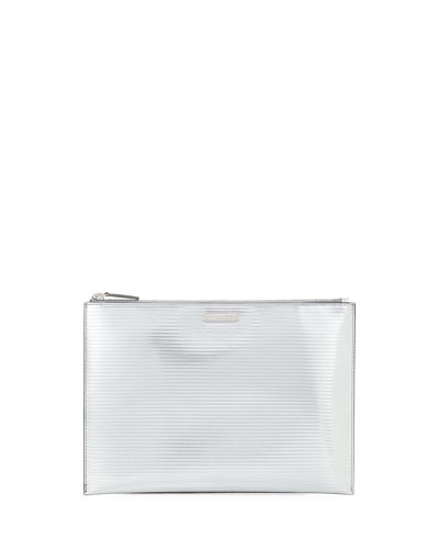 Textured Metallic Leather Zip-Top Pouch