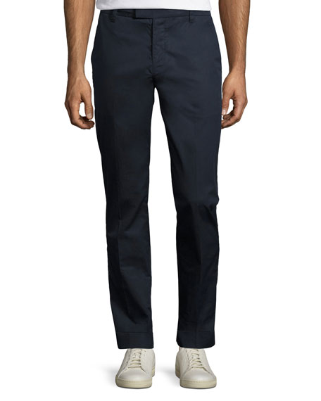 Cuffed Cotton Slim-Straight Pants