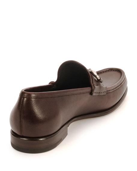 Textured Calfskin Gancini Loafer, Brown