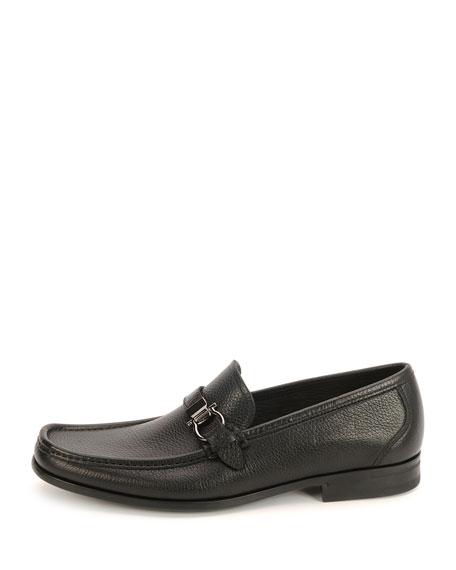 Men's Muller Textured Calfskin Side Gancio Loafer, Black