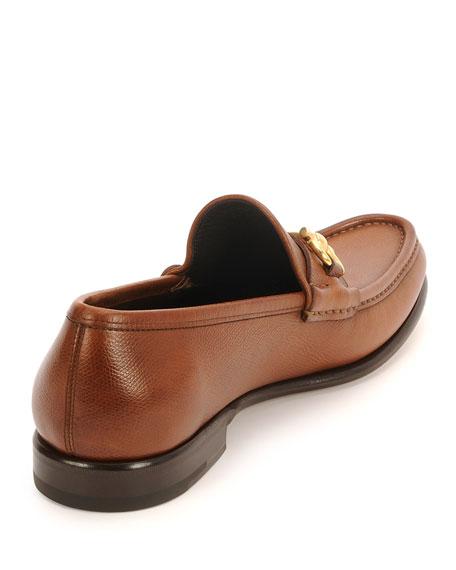 Textured Calfskin Gancini Loafer, Light Brown