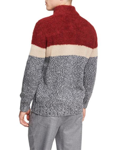 Striped Wool-Cashmere-Silk Zip-Front Cardigan