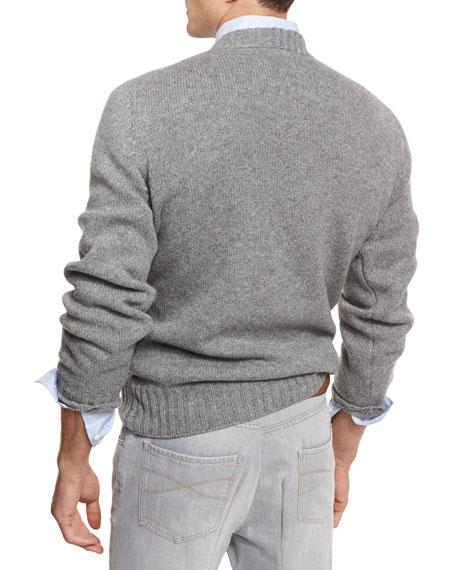 Argyle Wool-Cashmere-Silk Crewneck Sweater