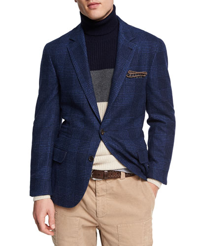 Glen Plaid Wool-Cotton Sport Coat, Dark Blue