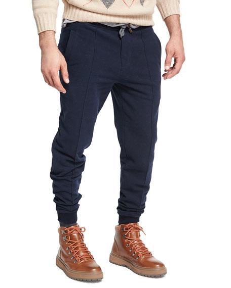 Brunello Cucinelli Spa Seamed Cotton Jogger Pants, Navy