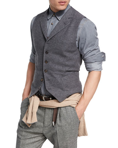 Wool-Cashmere Twill Waistcoat