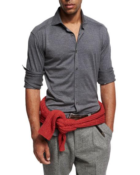 Silk-Cotton Knit Shirt