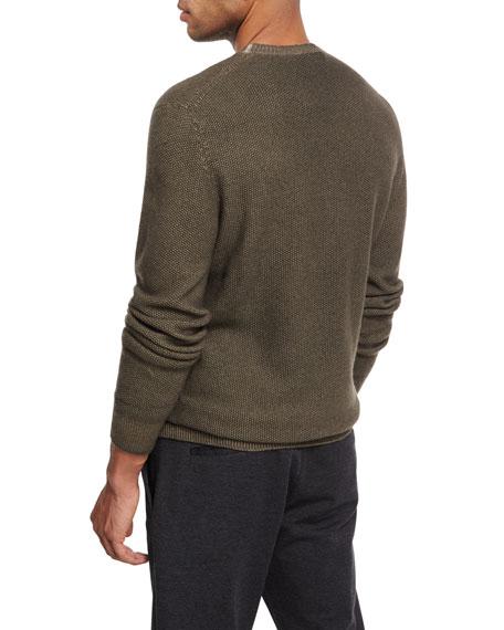 Waffle-Knit Crewneck Sweater, Olive (Light Green)