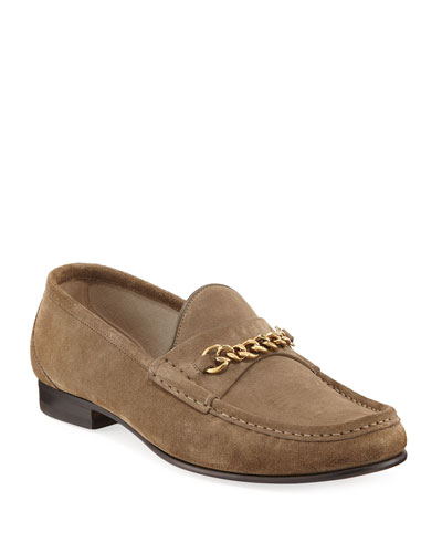 Suede Chain-Link Loafer  Tan