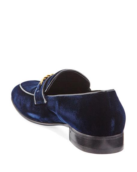 Velvet Chain-Link Loafer, Blue