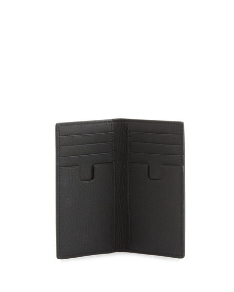 Grained Leather Vertical-Fold Wallet