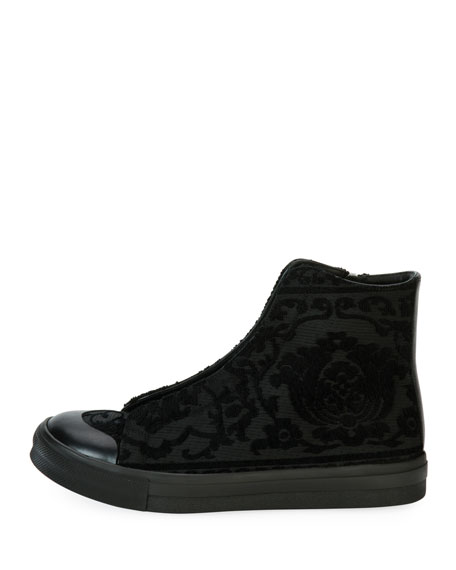 Men's Flocked Floral High-Top Sneakers