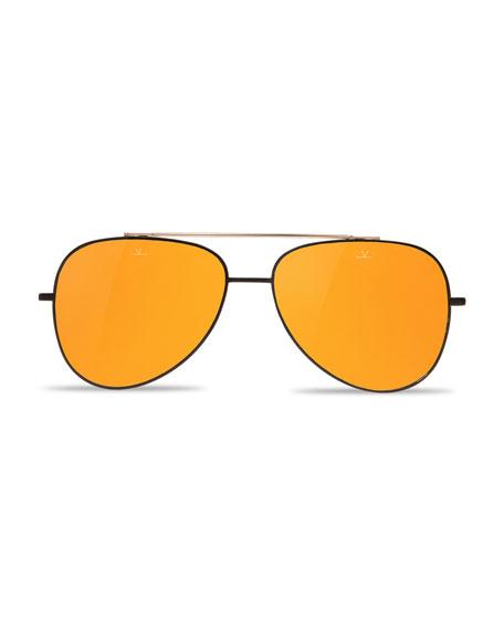 Swing Titanium Pilot Sunglasses, Gold/Black