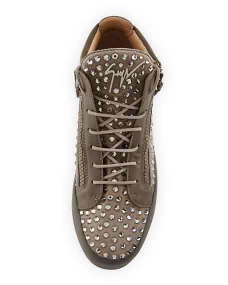 Men's Swarovski Crystal Studded Suede Mid-Top Sneaker